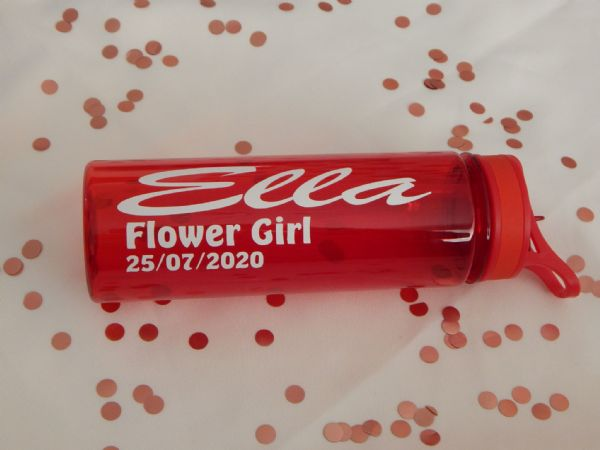 Red Personalised Wedding Drinking Bottle